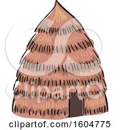 Clipart Of A Native American Hut Dwelling Royalty Free Vector Illustration