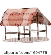 Clipart Of A Native American Straw Hut Dwelling Royalty Free Vector Illustration