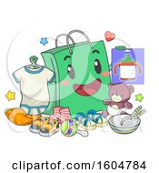 Clipart Of A Shopping Bag Mascot Holding Toddler Things Like Onesies Sippy Cup And Toys Royalty Free Vector Illustration by BNP Design Studio