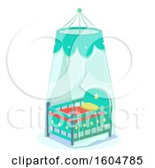 Poster, Art Print Of Green Baby Crib With Net Cover For Protection