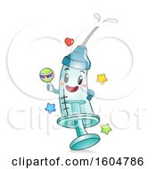 Clipart Of A Syringe Mascot With Vaccine Or Medicine Holding A Rattle Royalty Free Vector Illustration