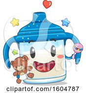 Clipart Of A Sippy Cup Mascot Holding A Rattle And Teddy Bear Royalty Free Vector Illustration