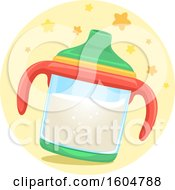 Clipart Of A Sippy Cup Filled With Milk Royalty Free Vector Illustration