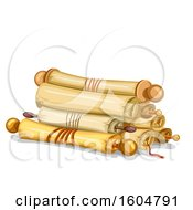 Clipart Of Old Paper Scrolls Royalty Free Vector Illustration