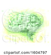 Pixel Art Brain In Green And Yellow On A White Background