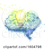 Pixel Art Light Bulb And Brain On A White Background