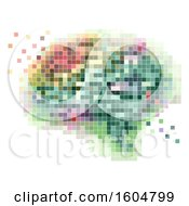 Colorful Pixel Art Brain On A White Background