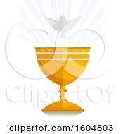 Clipart Of A Gold Chalice And A White Dove Royalty Free Vector Illustration