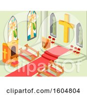 Clipart Of A Church Interior With The Cross Altar Benches And Confession Box Royalty Free Vector Illustration