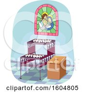 Clipart Of Lighted Votive Candles Inside Church With Stained Glass And Donation Box Royalty Free Vector Illustration