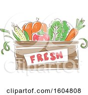 Clipart Of A Fesh Crate Of Vegetables Royalty Free Vector Illustration