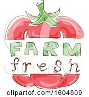 Clipart Of A Farm Fresh Design With A Bell Pepper Or Tomato Royalty Free Vector Illustration