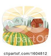 Clipart Of A Farm Landscape With A House And Rolling Fields At Sunrise Royalty Free Vector Illustration