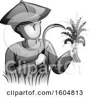 Clipart Of A Grayscale Male Farmer Holding A Sickle And Freshly Harvested Rice Royalty Free Vector Illustration