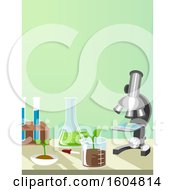 Poster, Art Print Of Agricultural Chemistry Microscope Beaker With Seedling Flask And Test Tubes