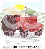 Clipart Of A Vintage Red Farm Tractor At Sunrise Royalty Free Vector Illustration