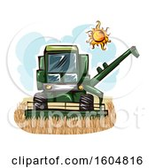 Green Farm Harvester Machine In A Wheat Field Under The Sun