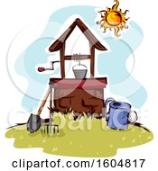 Clipart Of A Well With A Bucket And Tools Royalty Free Vector Illustration