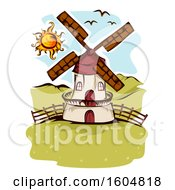 Clipart Of A Farm Windmill And Birds On A Sunny Day Royalty Free Vector Illustration