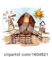 Clipart Of A Fenced In Barn With A Well Windmill And Sun Royalty Free Vector Illustration