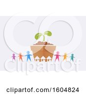 Clipart Of A Colorful Paper People Holding Hands Around A Giant Seedling Plant With Houses On An Off White Background Royalty Free Vector Illustration