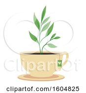 Poster, Art Print Of Tea Plant Growing From A Cup With A Bag