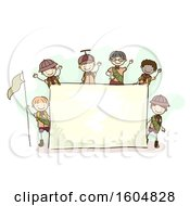 Clipart Of A Sketched Group Of Boy Scouts Around A Blank Sign Royalty Free Vector Illustration