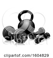 Clipart Of Dumbbells And Kettlebells Royalty Free Vector Illustration by BNP Design Studio