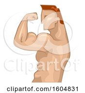 Clipart Of A Profiled Bodybuilder Flexing His Biceps Royalty Free Vector Illustration