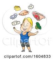 Poster, Art Print Of Cartoon Muscular Man Flexing Under Healthy Foods