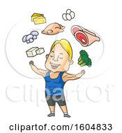 Cartoon Muscular Man Flexing Under Healthy Foods