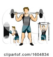 Clipart Of A Man Working Out In The Gym By Barbells Boxing And Lateral Pull Down For Body Building Royalty Free Vector Illustration