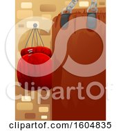 Clipart Of A Punching Bag And Boxing Gloves Royalty Free Vector Illustration