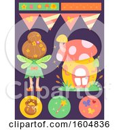Poster, Art Print Of Garden Fairy And Design Elements On Purple
