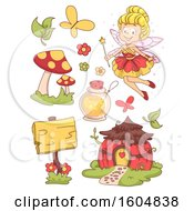 Clipart Of A Happy Flying Fairy With Mushrooms Wooden Signage Potion And Flowers Royalty Free Vector Illustration by BNP Design Studio