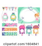 Clipart Of Fairy Elements With Frame Cute Houses Banner Potion And Pennant Banners Royalty Free Vector Illustration by BNP Design Studio