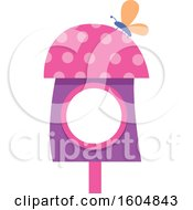Clipart Of A Butterfly On A Pink And Purple Fairy Or Bird House Royalty Free Vector Illustration by BNP Design Studio