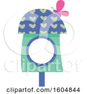 Clipart Of A Butterfly On A Green And Blue Fairy Or Bird House Royalty Free Vector Illustration by BNP Design Studio
