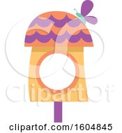 Clipart Of A Butterfly On A Purple And Orange Fairy Or Bird House Royalty Free Vector Illustration by BNP Design Studio