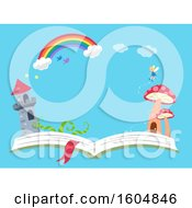Clipart Of A Castle And Mushroom Tower With A Fairy On An Open Book Under A Rainbow Royalty Free Vector Illustration