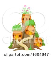 Clipart Of A Fairy Garden With Orange Pots And Plants Royalty Free Vector Illustration