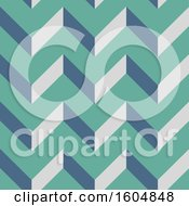 Green And Blue Seamless Chevron Background Pattern