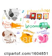 Clipart Of Different Sounds From Animals To Vehicles For Kids Like Cow Train And Horn Royalty Free Vector Illustration