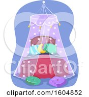 Clipart Of A Bed With Net Cover For Protection Royalty Free Vector Illustration