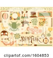 Poster, Art Print Of Steampunk Design Elements From Hat Board And Cogwheels
