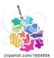 Poster, Art Print Of Paintbrush With Colorful Splats