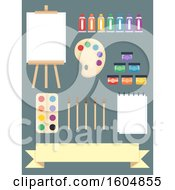 Poster, Art Print Of Painting Elements From Easel Canvas Paint Tubes Paint Palette Paintbrush Paper Wooden Palette And Ribbon