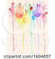 Poster, Art Print Of Line Of Paint Balloons Being Popped By Darts To Create Art