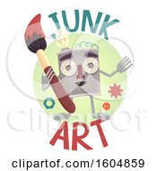 Clipart Of A Junk Art Design With A Tin Can Man Holding A Paintbrush Royalty Free Vector Illustration by BNP Design Studio