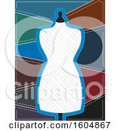 Clipart Of A Blank Sewing Mannequin Frame With Pants Fabric Patters Behind Royalty Free Vector Illustration